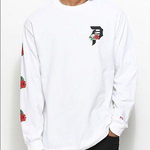 Primitive Dos Flores Long Sleeve White T Shirt